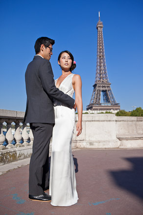 Bride and Groom at Eiffel Tower Paris
